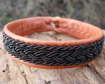 Sami bracelet, S / 17 cm, Cognac brown reindeer leather, Black copper braids, Antler closure, MJOLNIR ready to ship