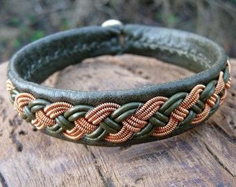 Saami armband viking braid bracelet, Medium 18 cm, Ready To Ship, VANAGANDR Olive reindeer leather cuff, Copper braid, Antler button closure