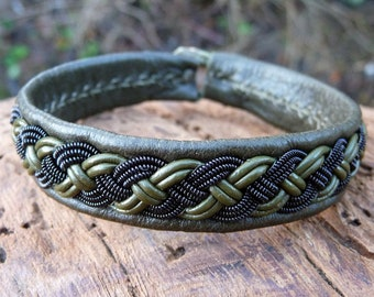 Tribal viking nomadic bracelet, Medium 18 cm, Ready To Ship, VANAGANDR Olive reindeer leather Sami cuff, Black copper braid, Antler closure