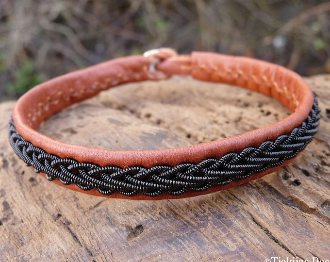 Swedish Sapmi folklore bracelet, Large 19 cm, Ready To Ship, THOR Cognac brown reindeer leather cuff, Black copper braid, Antler button