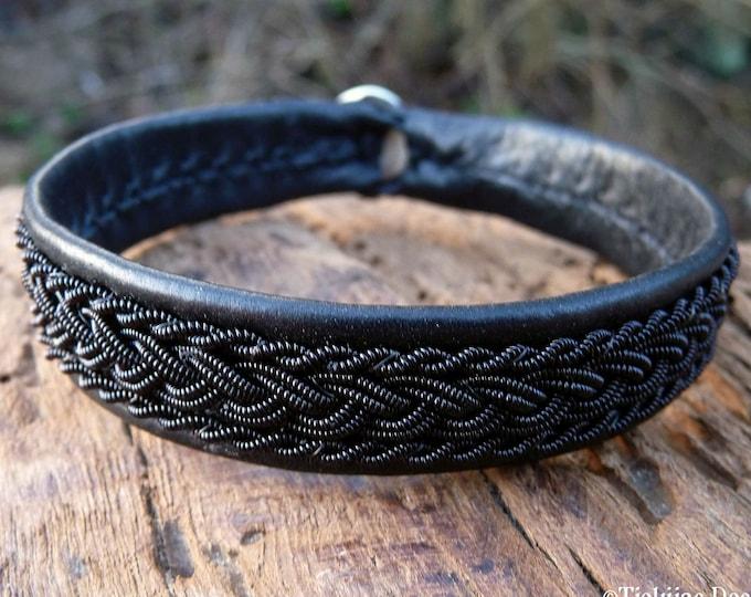 Sami gothic viking pagan bracelet, Large 19 cm, Ready To Ship, MJOLNIR Black reindeer leather, Black copper braid, Antler button closure,
