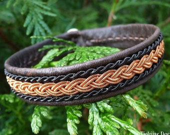 Saami Lapland viking cuff leather bracelet , XLarge 20 cm, Ready To Ship, Handcrafted MJOLNIR Antique brown, Braided copper, Antler button