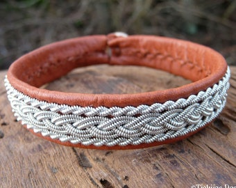 Swedish pewter bracelet cuff, Medium 18 cm, Ready To Ship, MJOLNIR Cognac brown reindeer leather, Antler button closure, For him and her