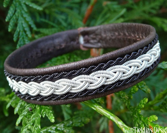 Swedish Sapmi Bracelet , Large 19 cm, Ready To Ship, MJOLNIR Antique brown reindeer leather, Pewter and black copper braid, Antler button