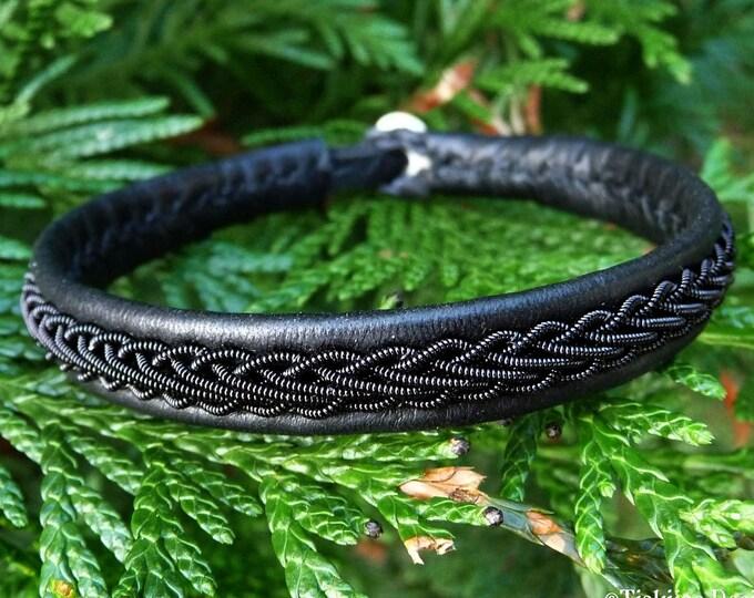 Black copper and Reindeer leather Scandinavian Sami bracelet, XLarge 20 cm, Ready To Ship, THOR Viking braided cuff, Antler closure