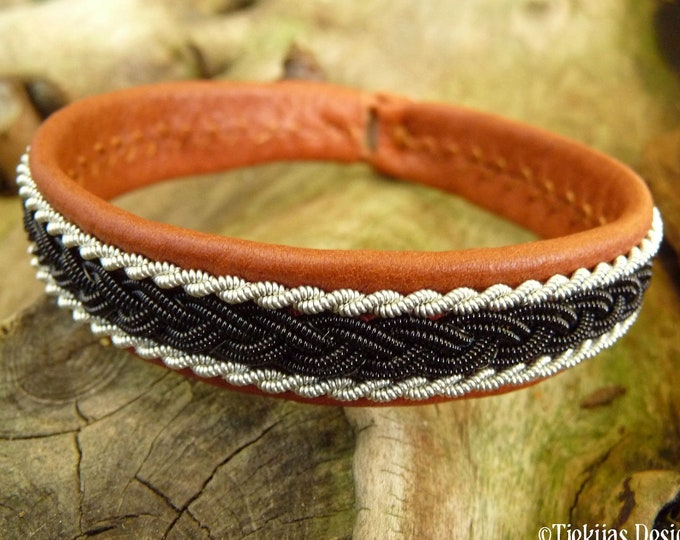 Shamanism Sami cuff armband, Large 19 cm, Ready To Ship, MJOLNIR Cognac brown reindeer leather, Black copper and pewter braid, Antler button