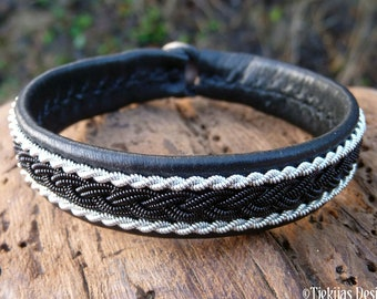 Reindeer Saami bracelet, Medium 18 cm, Ready To Ship, MJOLNIR Black viking leather cuff, Black copper and pewter braid, Antler closure