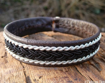 Viking Lapland bracelet, Small 17 cm, Ready To Ship, MJOLNIR Antique brown reindeer leather cuff, Black copper  Pewter braid, Antler closure