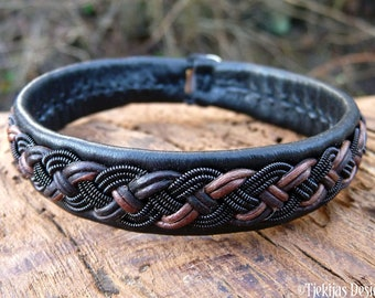Sami Norse viking Lapland bracelet, Large 19 cm, Ready To Ship, VANAGANDR Black and brown leather cuff, Black copper braid, Antler closure