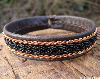 Lapland Sapmi bracelet, Medium 18 cm, Ready To Ship, MJOLNIR Antique brown reindeer leather cuff, Black and copper braid, Antler closure