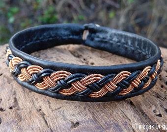 Nordic Scandinavian Sami viking bracelet, Large 19 cm, Ready To Ship, VANAGANDR Black reindeer leather cuff, Copper braid, Antler closure