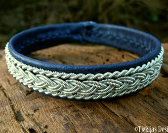 Nordic crafts Sami bracelet , XLarge 20 cm, Ready To Ship, MJOLNIR Navy blue reindeer leather cuff, Pewter braids, Antler button closure