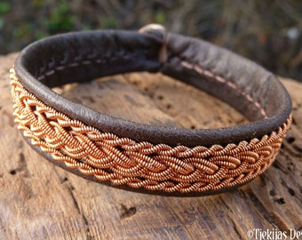 Sami viking bracelet, Small 17 cm, Ready To Ship, MJOLNIR Antique brown reindeer unisex leather cuff, Copper braid, Antler button closure