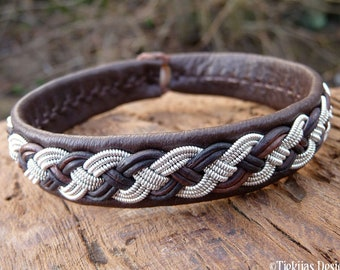 Sami Swedish pewter cuff leather bracelet, Large 19 cm, Ready To Ship, VANAGANDR Handcrafted in Antique brown reindeer with Antler closure