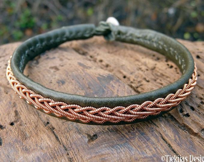 Swedish Sami Shamanism bracelet, XLarge 20 cm, Ready To Ship, THOR Olive green reindeer leather cuff, Copper braid, Antler button closure