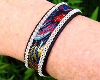 Sami Lapland leather bracelet cuff IDAVANG silk brocade, pewter braids and antler button closure