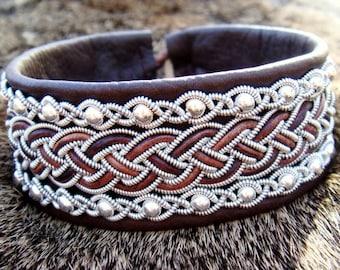 Viking leather cuff GERI, Norse Sami bracelet, handmade in antique brown deerskin, with sterling silver beads in pewter braids