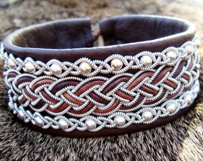 Viking leather cuff GERI, Norse Sami bracelet, handmade in antique brown deerskin, with sterling silver beads in pewter braids