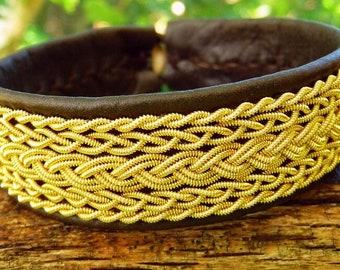 Nordic Sami Lapland leather bracelet SKADI viking gold braided cuff with reindeer antler closure