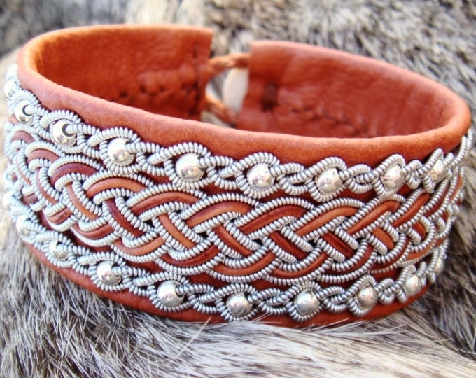 Leather viking cuff, Sami bracelet GERI with sterling silver beads and pewter braids on brown deerskin