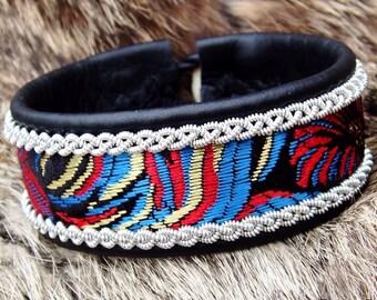 Black Leather Viking Cuff Bracelet IDAVANG Sami style Norse Bracelet with Pewter Braids and Beautiful Silk Brocade