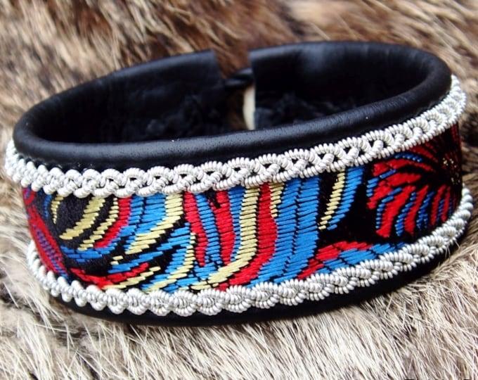 Black leather viking cuff IDAVANG, Sami boho bracelet with pewter braids and beautiful silk brocade