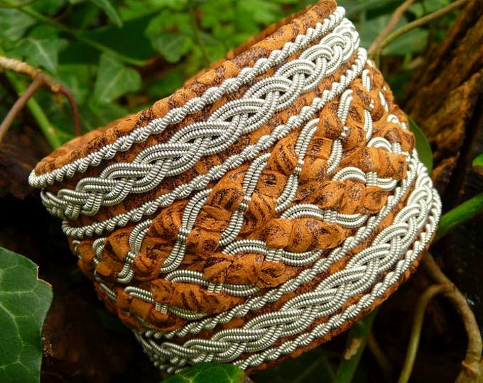 Pewter and leather viking bracelet cuff, HULDRA handmade Sami bracelet in brown flower lambskin with antler closure