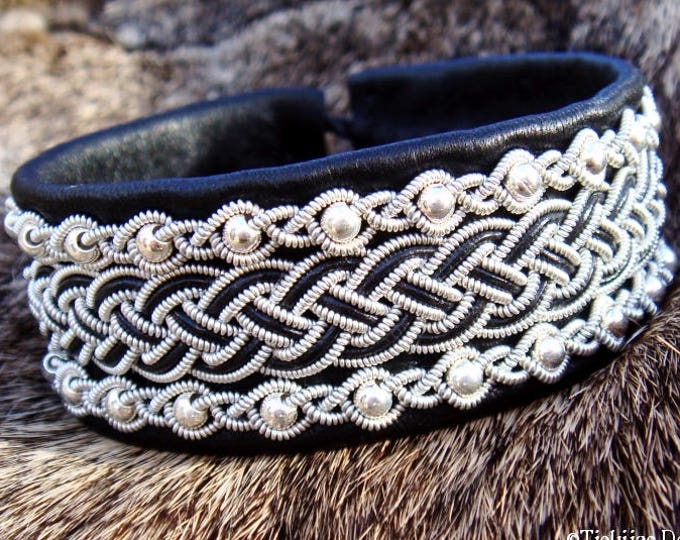 Viking leather cuff GERI, Scandinavian Sami bracelet, handcrafted in black reindeer skin with sterling silver beads