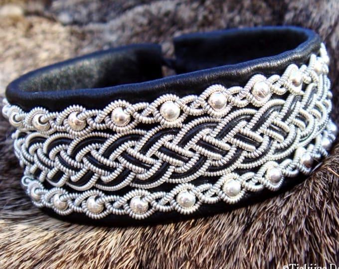 Viking Bracelet Cuff GERI Scandinavian Sami Bracelet in Black Reindeer Leather with Sterling Silver beads - Handcrafted Lapland Beauty