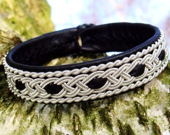 VANAHEIM black viking bracelet, Swedish Sami leather cuff with pewter braids and antler closure