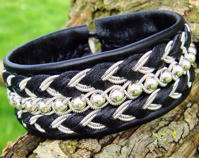 BESTLA black viking leather cuff   Swedish Sami bracelet with sterling silver beads and pewter braids