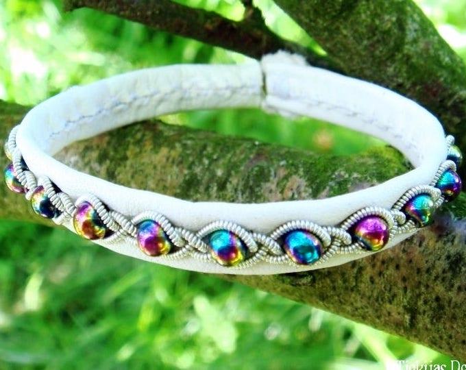 Lapland White Leather Viking Bangle | GJALL Rainbow Hematite Boho Bracelet | Handcrafted to Your Color and Size