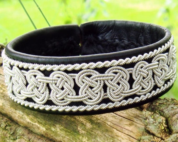 BEOWULF Sami bracelet cuff, viking bracelet in black reindeer leather with pewter braids, custom handmade from Tjekijas Design