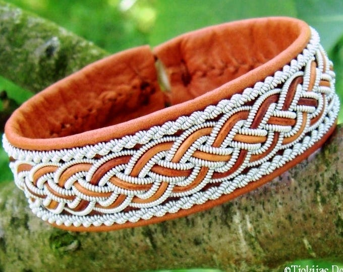 Sami bracelet cuff, GIMLE handmade Lapland viking bracelet in cognac brown reindeer leather with pewter and leather braid
