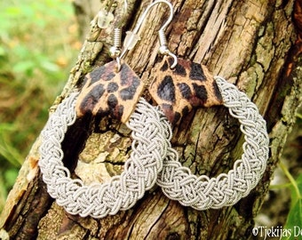 Viking earrings YGGDRASIL, in Sami style, with pewter braids and leopard leather