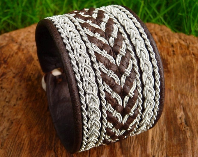 Sami viking bracelet, HULDRA antique brown leather cuff, decorated with pewter braid and antler closure