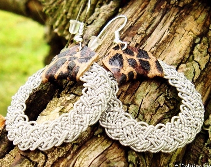 Nordic viking earrings, YGGDRASIL in Sami style with pewter braids and leopard reindeer leather