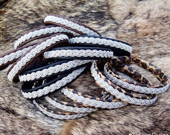 Sami viking bracelet LIDSKJALV, women and mens cuff in reindeer leather or lambskin, in Your color and size