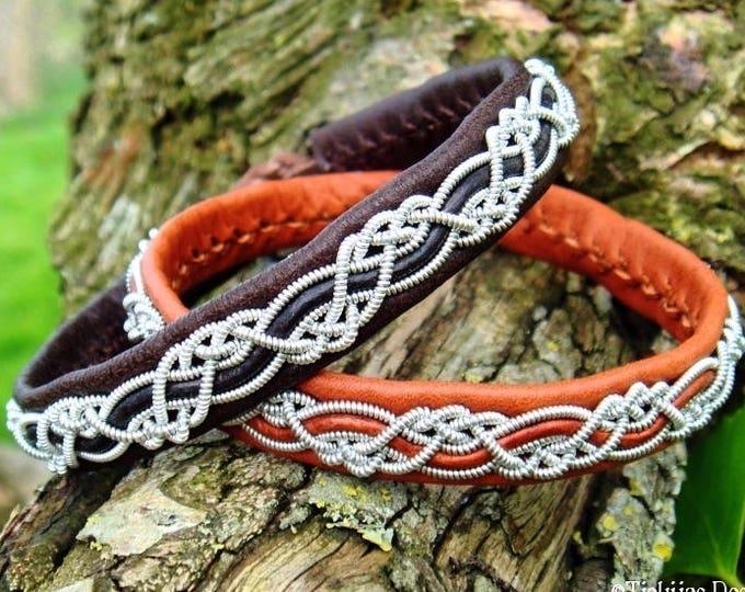 Viking Sami bracelet, HUGINN tin armband, brown leather cuff bangle