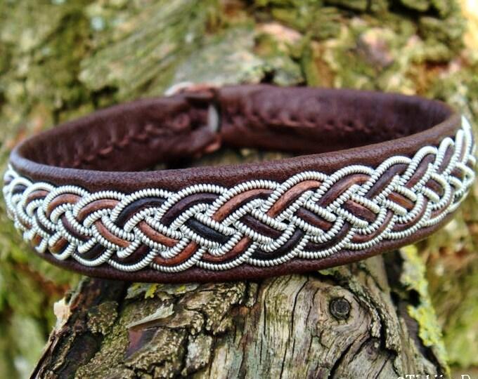 Vikings and Shieldmaidens brown leather cuff bracelet, FREKI custom handmade Sami armband