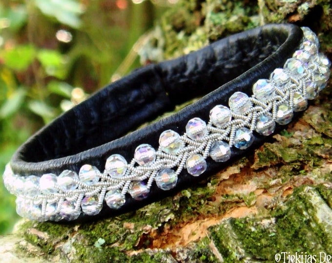 Sami viking bracelet, SKINFAXE black leather cuff with sparkling crystal and pewter braid