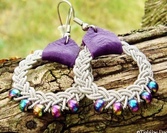 Sami earrings, RIMFAXE viking dangle hoops with pewter braids, rainbow hematite beads and purple reindeer skin