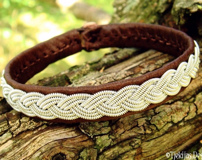 Nordic EDDA viking bracelet, Sami pewter and reindeer leather cuff, handmade for men and women