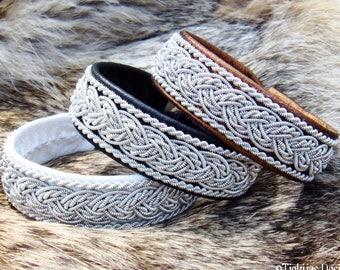Scandinavian folklore jewelry, Lapland pewter black reindeer Sami bracelet, GRANI handmade leather cuff