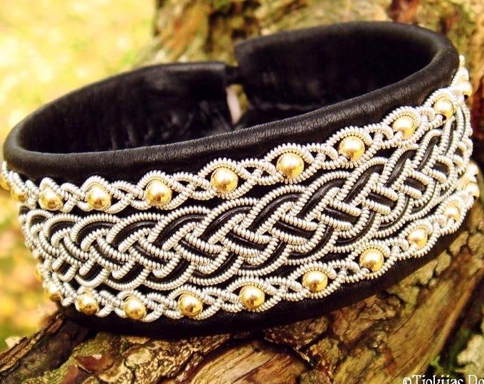 Shieldmaidens viking Sami leather cuff bracelet, GERI with 14k gold beads in pewter braids on black reindeer skin