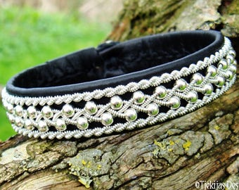Sami bracelet, Swedish viking Lapland cuff, ROSKVA black leather bangle, with sterling silver beads and pewter braid