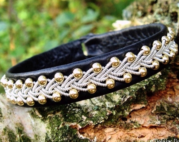 Handcrafted Nordic viking Sami bracelet, SKINFAXE cuff with 14k gold beads in pewter braid on black reindeer leather