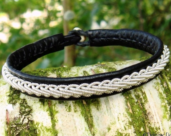 THOR black leather viking cuff bangle, custom handmade Swedish Sami bracelet for men and women