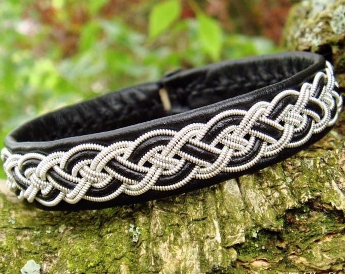 Sami bracelet, NIFLHEIM Norse viking cuff bangle in black leather with pewter braid and antler closure
