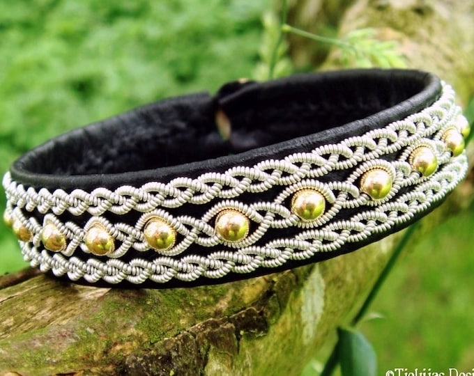 Viking Bracelet YDUN Handmade Black Reindeer, Pewter Braids and 14K Gold Cuff in Norse Sami style